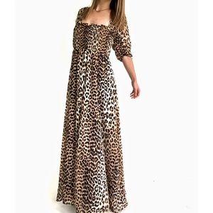 NWT ASOS Design Shirred Bustier Maxi Dress Leopard